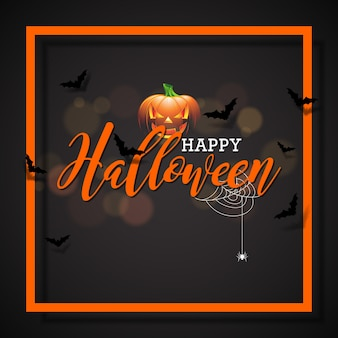 Happy halloween vector illustration with pumpkin on black background. holiday design with spiders and bats for greeting card, banner, poster, party invitation.