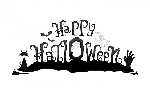 Happy halloween vector lettering. scary calligraphy text with zombie hand and cat