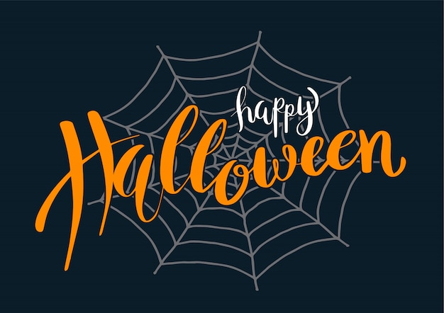 Happy halloween vector lettering on spider web.