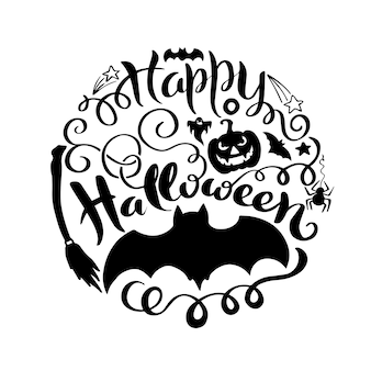 Happy halloween vector lettering