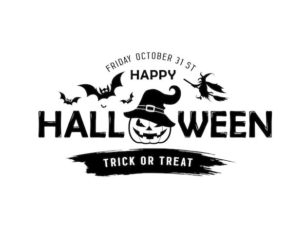 Happy halloween vector message pumpkin in a hat black and white design