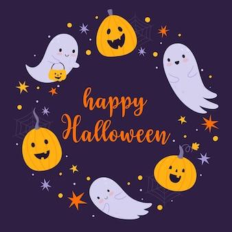Счастливого хэллоуина. векторный шаблон для открытки или баннера с нарисованными от руки привидениями и тыквами.