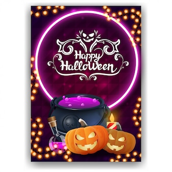 Happy halloween, vertical greeting card with bright design, witch's cauldron and pumpkin jack