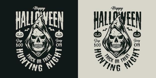 Happy halloween vintage label with spooky grim reaper skull in hood