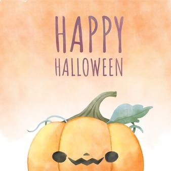 Happy halloween,watercolor halloween pumpkin.
