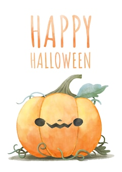 Happy halloween,watercolor painting halloween pumpkin.