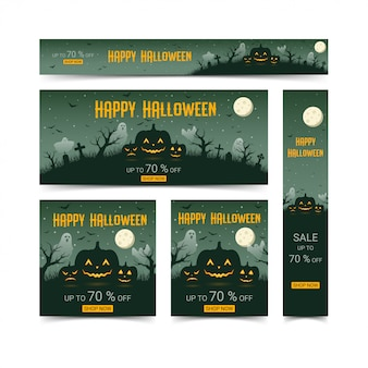 Happy halloween web banners design template set, illustration