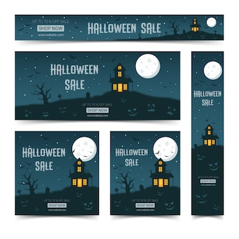 Happy halloween web banners design template set,