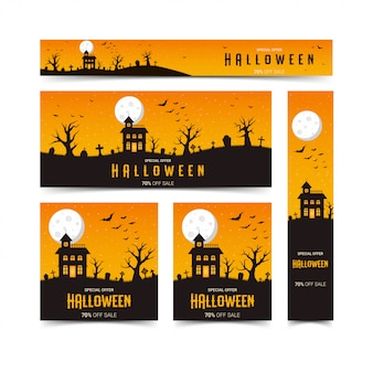 Happy halloween web banners design template set