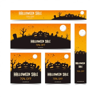 Happy halloween web banners template set