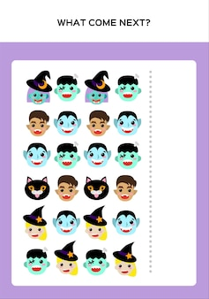 Happy halloween what come next игра для детей с монстрами. обучающая игра для детей. вектор