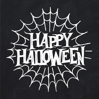 Happy halloween and white spiderweb lettering
