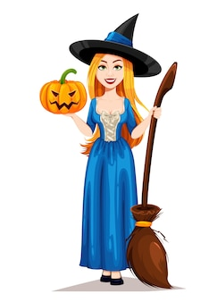 Счастливый хэллоуин ведьма мультипликационный персонаж