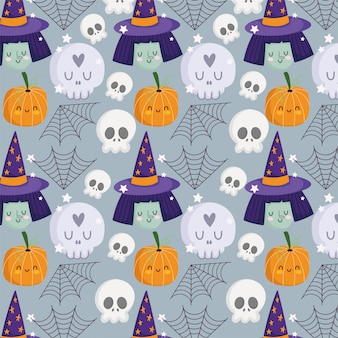 ハッピーハロウィン、魔女の顔の頭蓋骨カボチャ帽子クモの巣トリックオアトリートパーティーお祝い背景ベクトルイラスト