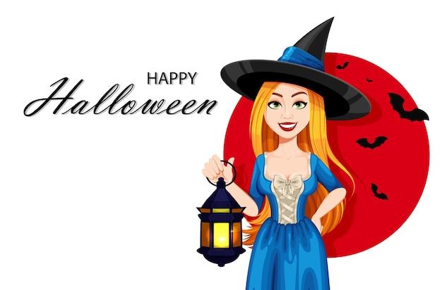 Счастливая открытка ведьмы хэллоуина