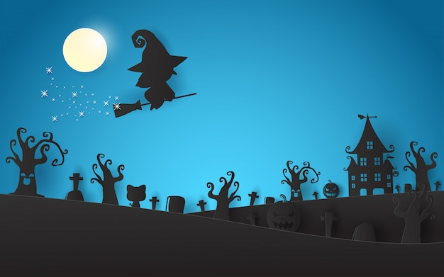 Happy halloween witch silhouette on the moon paper art and craft style
