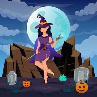 해피 할로윈. 마녀 여자는 달빛에 트릭 오어 트릿을 하기 위해 팬시 드레스와 다이아몬드 지팡이를 착용합니다. 벡터 일러스트 레이 션