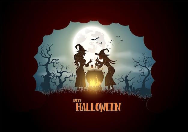 幸せなハロウィーン、魔女は森の大きなボイラーで料理をします。