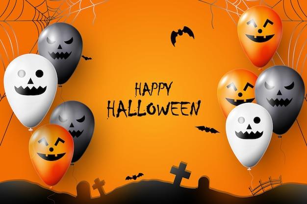 Счастливого хэллоуина с фоном воздушного шара. векторная иллюстрация.