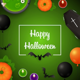 Happy halloween with balloons and potion