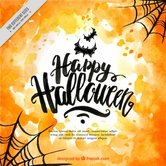 Happy halloween with bats and cobwebs