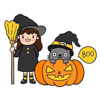 Happy halloween with black cat.