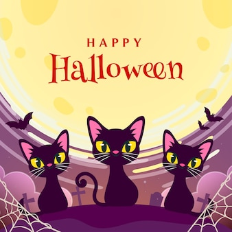Happy halloween with black cats greeting card