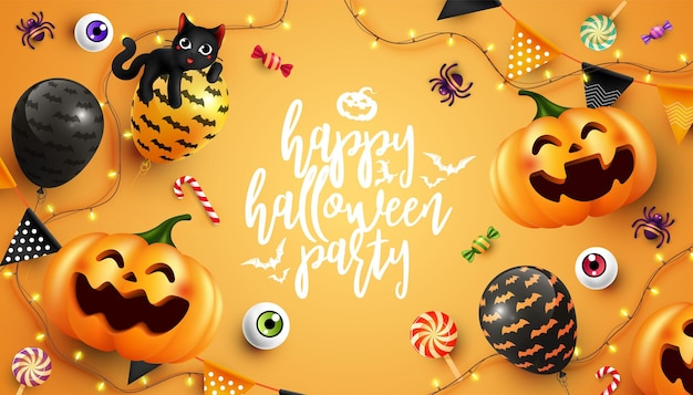 Happy halloween with calligraphy halloween element flat lay background trick or treat concept