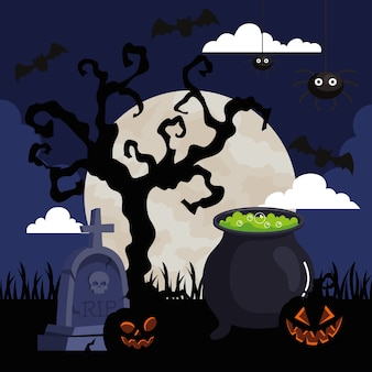 Happy halloween with cauldron in cemetery scene