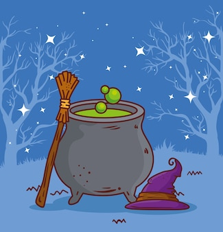 Happy halloween with cauldron, hat and broom witch