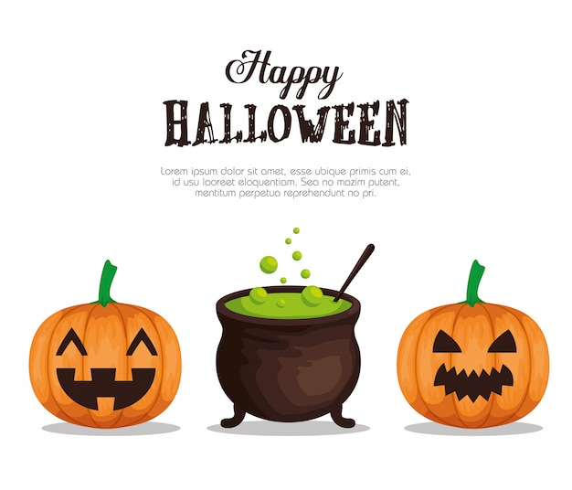 Happy halloween  with cauldron and pumpking