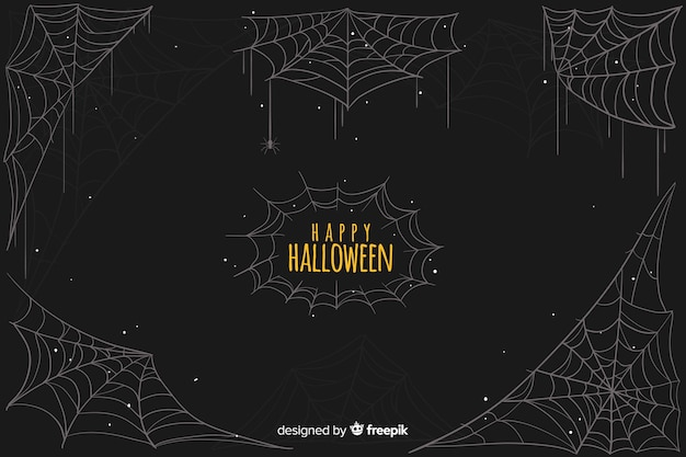 Happy halloween with cobweb background