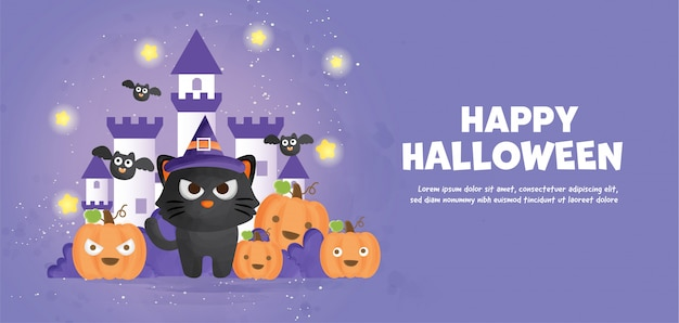 Happy halloween  with cute cat and pumpkins in water color style.