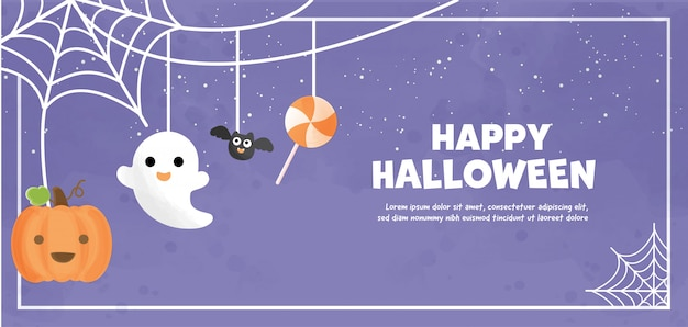 Happy halloween  with cute ghost in water color. Premium Vector