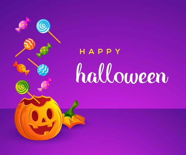 Happy halloween with cute pumpkin and candy