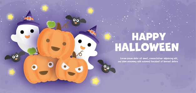 Happy halloween  with  cute pumpkins and ghosts  in water color style.