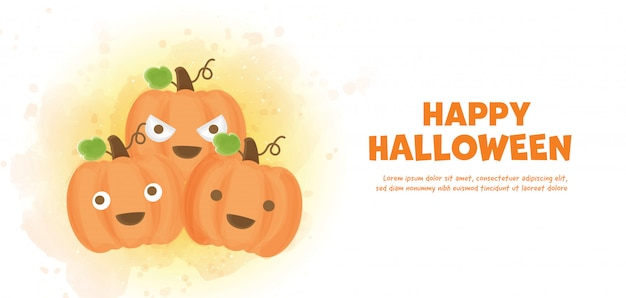Happy halloween  with cute pumpkins in water color style.