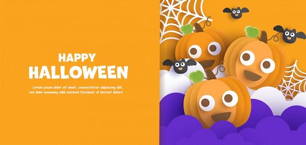 Happy halloween  with cute  pumpkins.
