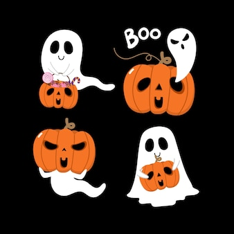 Счастливого хэллоуина с милыми жуткими привидениями и страшной тыквой