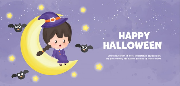 Happy halloween  with  cute witch  in water color style. Premium Vector