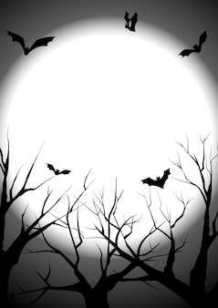 Happy halloween with died tree silhouette background