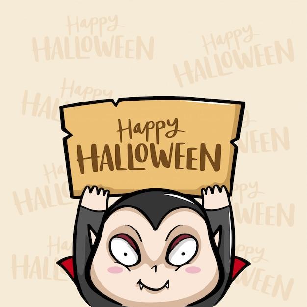 Happy halloween with dracula vector