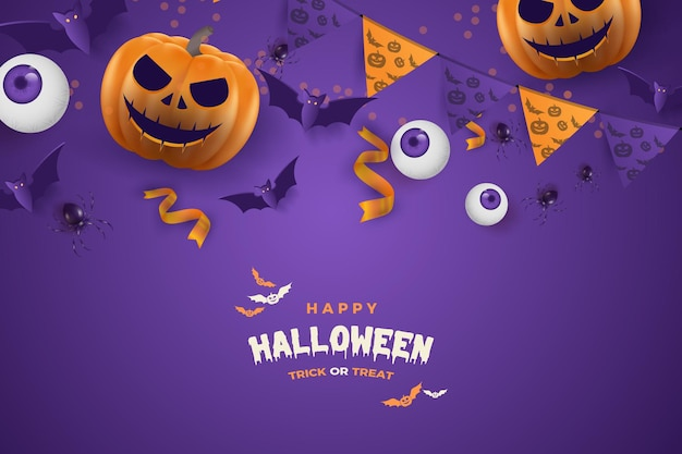 Happy halloween with flat design on a purple background