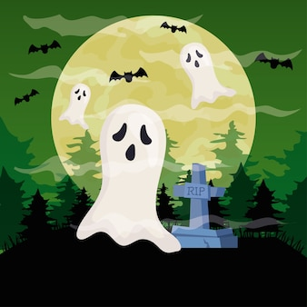 Happy halloween with ghosts in cemetery scene