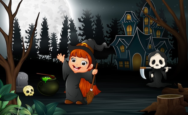 Happy halloween with grim reaper and the witch girl Premium Vector