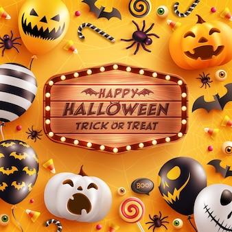 Счастливого хэллоуина с воздушными шарами-призраками на хэллоуин и тыквой