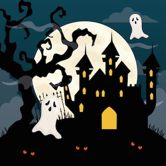 Happy halloween with haunted castle and ghosts in dark night