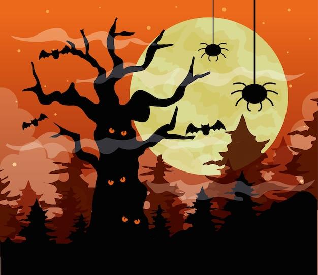 Счастливый хэллоуин с деревом с привидениями и пауками в темную ночь