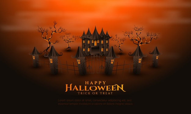 Happy halloween with house background