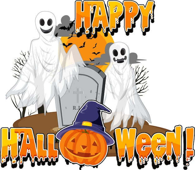 Happy halloween with jack-o'-lantern and ghost at graveyard